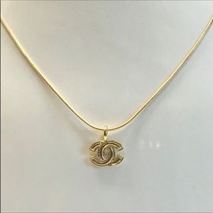 Auth Chanel CC Gold Metal Stamped Pendant Necklace